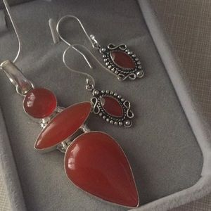 Jewelry - Stylish carnelian set Silver 925